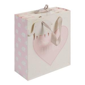 """Ez a bájos dísztasak tökéletes kislányoknak szánt ajándékok csomagolásához. A táskán egy rózsaszín szív található, """"Precious Baby Girl"""" (-Értékes kislány) felirattal. A dísztasakon ezüst szalag fülek és egy elefántcímke található egy különleges üzenet számára."""