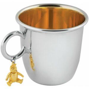 925-ös ezüstpohár aranyozott belsővel és mackódísszel.