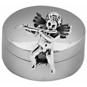 925-ös sterling ezüst fog és/vagy hajtincs tartó szelence, fuvolázó angyallal.