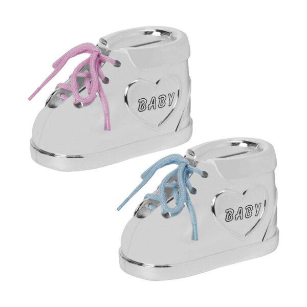 babacipő formájú persely kék és rózsaszín fűzővel