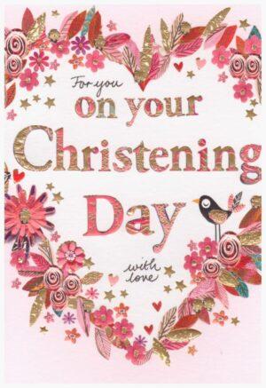 Képeslap – For you on your Christening Day with love, rózsaszín