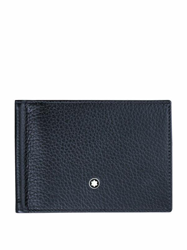 Sötétkék, puha tapintású férfi pénztárca. 6 bankkártya tárolására alkalmas, közepén bankjegycsipesszel. Lapos, ezért, akár egy öltöny belsőzsebében is láthatatlan marad.