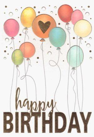 Képeslap – Happy Birthday, színes lufikkal