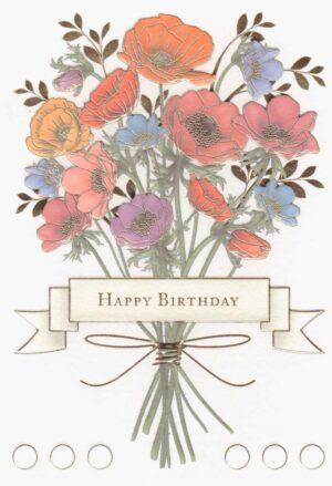 Képeslap – Happy Birthday, virágcsokor
