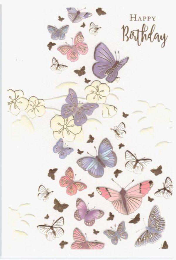 Képeslap – Happy Birthday, pillangós