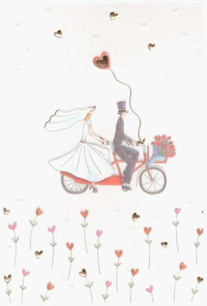 Képeslap - ifjú pár biciklin