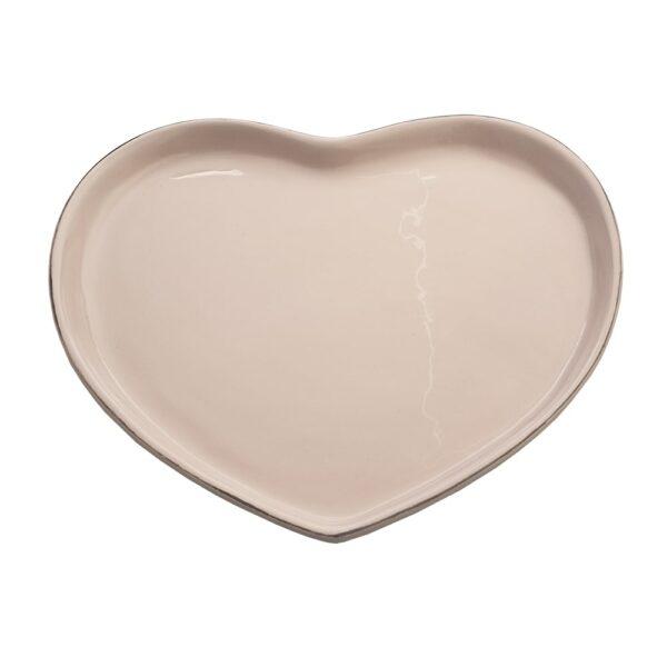 Rózsaszín szív alakú porcelán tálca.