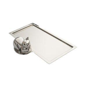 Ez az ezüstözött tálca nem csak egy kávéscsésze alá ajánlott, de ugyanúgy szépen mutat egy íróasztalon, mint tolltartó vagy névjegytartó.
