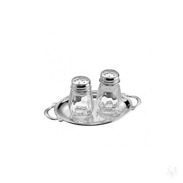 Ezüst só- és borsszoró tálcával