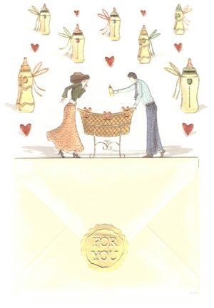 Képeslap az újszülött érkezésére, angol felirattal és borítékkal.