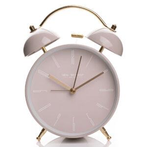 Dupla csengős analóg ébresztőóra rózsaszín színben, arany kiegészítőkkel.