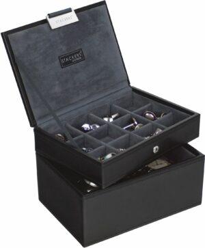 Praktikus, kétszintes, stackers márkájú fekete mandzsetta- és óratartó doboz.