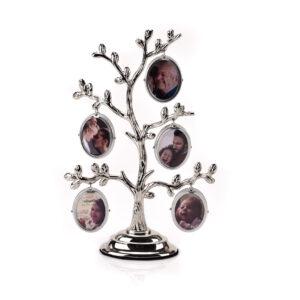 Ezüstözött családfa képtartó.
