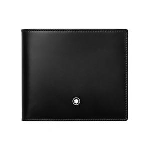 Montblanc márkájú, fekete színű borjúbőrből készült péntárca, 8 db bankkártyának.