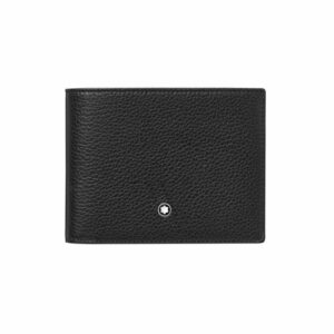 Montblanc márkájú, fekete színű borjúbőrből készült péntárca, 11 db bankkártyának, 2 rekesz a bankjegyeknek, 2 további zseb és egy átlátszó zseb.