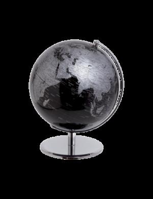 30 cm-es Mascagni fekete-ezüst földgömb, LED világítással.
