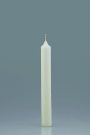 Fehér oltári gyerta. Mérete: 25 cm magas, Ø 3,0 cm