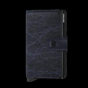 Secrid Miniwallet Crunch Blue, lágy tapintású, sima felületű marhabőrből.