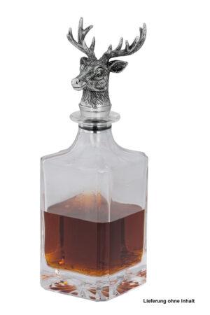 Az üveg szögletes formájú, a hozzátartozó szarvasfej alakú dugó krómozott. Elegáns megoldás bármely ital tárolására.